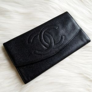 Chanel Vintage Black Caviar Envelope Flap wallet